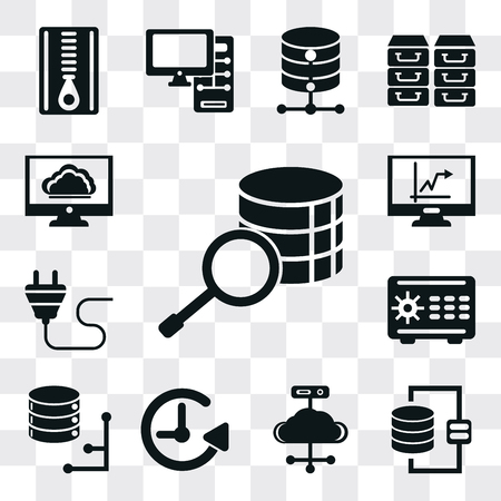 Set Of 13 simple editable icons such as Database, Cloud computing, Back up, Safebox, Plug, Stats, web ui icon pack