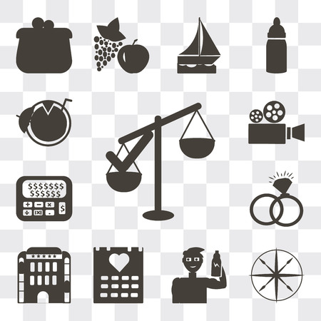 Set Of 13 simple editable icons such as Approval, Compass, Protein container, Heart on calendar, Hotel building, Interlocking rings, Calculator and dollar, Video camera, web ui icon pack Banco de Imagens - 112215376