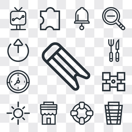 Set Of 13 simple editable icons such as Bookmark, Garbage, Help, Store, Sun, Layout, Clock, Cutlery, Export, web ui icon pack