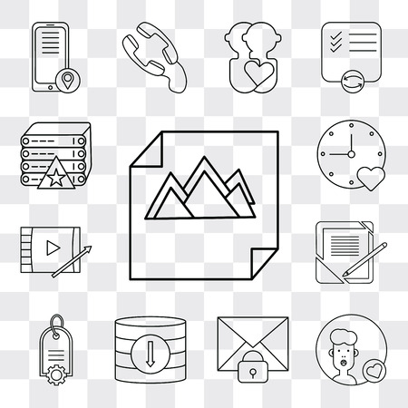 Set Of 13 simple editable icons such as Image, User, Mail, Database, Price tag, Notebook, Video player, Stopwatch, Server, web ui icon pack Ilustração