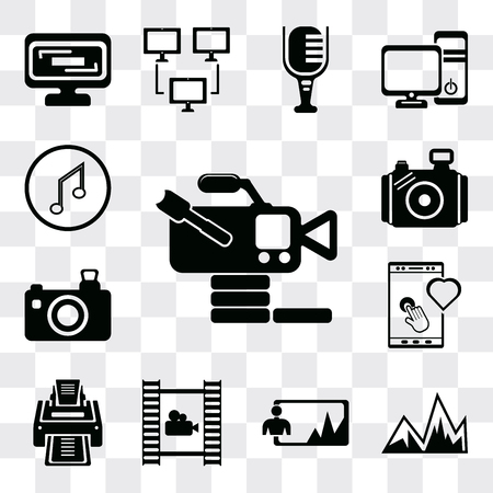 Set Of 13 simple editable icons such as Video camera from side view, Image with mountains, Image, Film roll, Printer, Tablet tool, Photo camera, Musical note, web ui icon pack