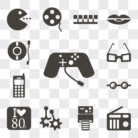 Set Of 13 simple editable icons such as Game console, Radio, Instant camera, Earring, Eighties, Eyeglasses, Cellphone, Sunglasses, Turntable, web ui icon pack