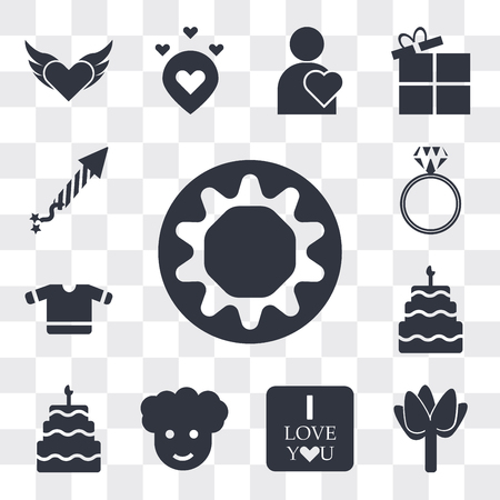 Set Of 13 simple editable icons such as Chocolate donut, Two roses, I love you, Man with afro hair style, Birthday cake candles, Five birthday cake, T shirt heart, web ui icon pack Ilustração