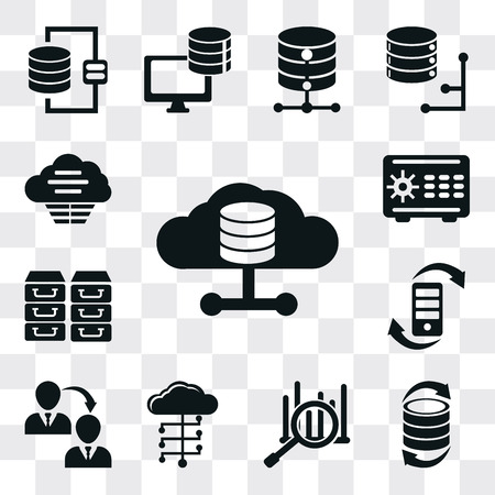 Set Of 13 simple editable icons such as Database, Transfer, Analytics, Cloud computing, Archive, Safebox, Cloud, web ui icon pack