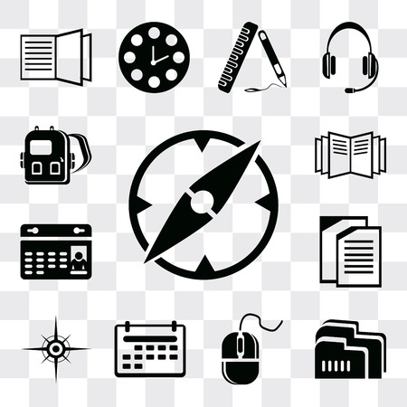 Set Of 13 simple editable icons such as Compass, Folder, Mouse, Calendar, Copy, Open book, Backpack, web ui icon pack Ilustração