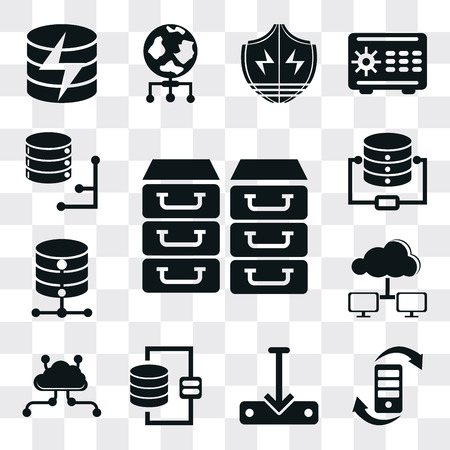 Set Of 13 simple editable icons such as Archive, Transfer, Download file, Database, Cloud computing, Computing cloud, web ui icon pack Ilustração
