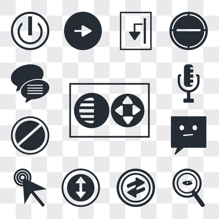 Set Of 13 simple editable icons such as Full circle, Magnifying Glass Searcher, o Arrow, Selectioned Circle, Mouse cursor, Chat speech bubbles, Prohibition web ui icon pack Banco de Imagens - 112215388