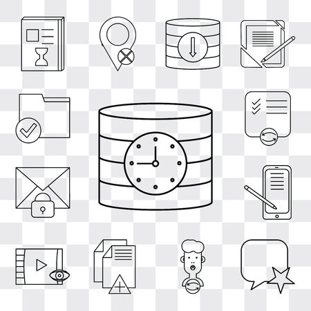 Set Of 13 simple editable icons such as Database, Speech bubble, User, File, Video player, Smartphone, Mail, List, Folder, web ui icon pack