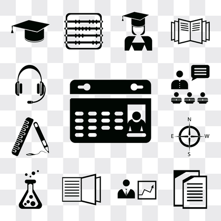 Set Of 13 simple editable icons such as Calendar, Copy, Presentation, Open book, Flask, Compass, Ruler, Headset, web ui icon pack
