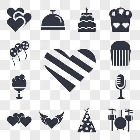 Set Of 13 simple editable icons such as Giving Love, Drummer Set, Birthday hat with dots and stars, Devil heart wings, Heart, Vintage Mic, Ice cream Cup, Muffin Bake, web ui icon pack
