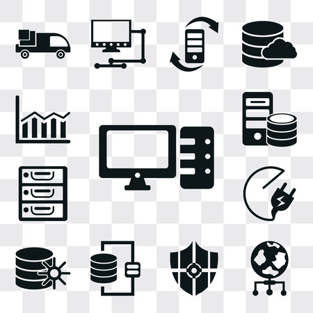 Set Of 13 simple editable icons such as Computer, World, Protected, Database, Plug, Archive, Server, Bar chart, web ui icon pack Ilustração
