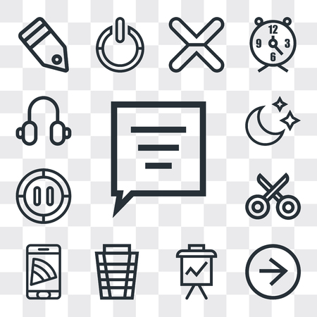 Set Of 13 simple editable icons such as Speech bubble, Right arrow, Presentation, Garbage, Smartphone, Cut, Pause, Moon, Headphones, web ui icon pack
