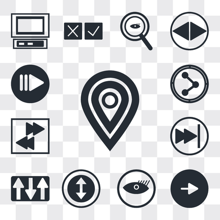 Set Of 13 simple editable icons such as Map pointer, Play button, Watch dark eye, Selectioned Circle, Key up, Pause Arrow pointing right, Share, web ui icon pack