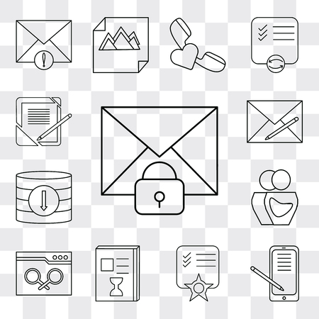 Set Of 13 simple editable icons such as Mail, Smartphone, Notepad, List, Browser, User, Database, Envelope, Notebook, web ui icon pack  イラスト・ベクター素材