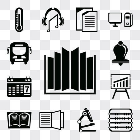 Set Of 13 simple editable icons such as Open book, Abacus, Microscope, Book, Blackboard, Agenda, Bell, Bus, web ui icon pack