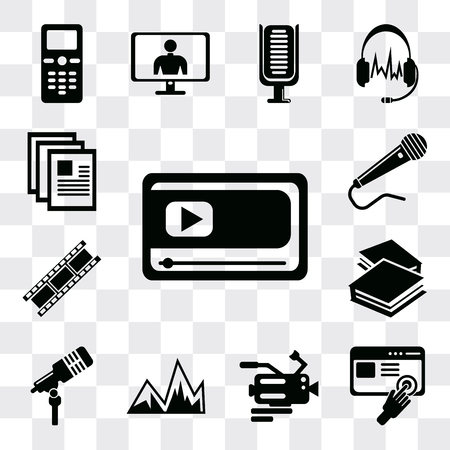 Set Of 13 simple editable icons such as Movie player, Images interface, Video camera, Image with mountains, Microphone voice, Book closed of white cover, web ui icon pack Ilustração