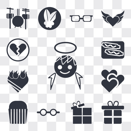 Set Of 13 simple editable icons such as Boy angel head, Give a Gift, Open Present Box, Couple of glasses, Muffin Bake, Two Hearts, Heart In flames, Burning sausage on fork, web ui icon pack