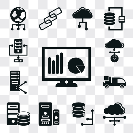Set Of 13 simple editable icons such as Monitor, Cloud, Database, Server, Truck, Cloud computing, web ui icon pack