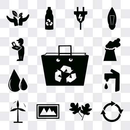 Set Of 13 simple editable icons such as Recycled bag, Reload, Two leaves, Landscape Image, Wind mill, Water tap, Oil drops, Power plant, Global Awareness, web ui icon pack Ilustração