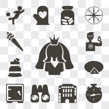 Set Of 13 simple editable icons such as Bride avatar, Analog stopwatch, Hotel building, Pair of binoculars, Safe box, Pie chart with dollar, Wedding cake, web ui icon pack Ilustração