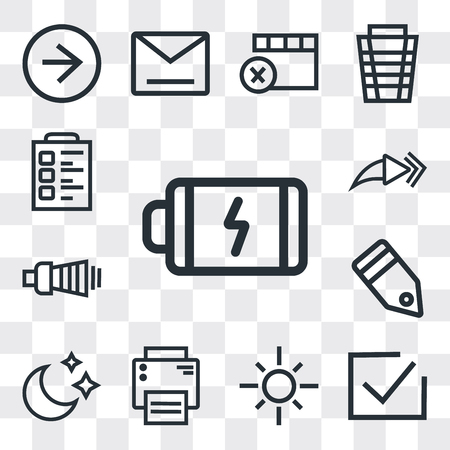 Set Of 13 simple editable icons such as Battery, Correct, Sun, Printer, Moon, Tag, Volume, Forward, Padnote, web ui icon pack Ilustração
