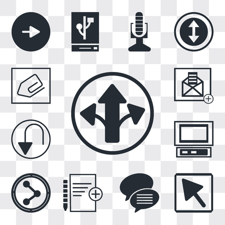 Set Of 13 simple editable icons such as Turn right arrow, Mouse Conversation speech bubbles, Add new document, Share, Laptop frontal monitor, Undo Arrow, web ui icon pack 向量圖像
