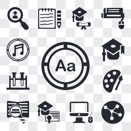 Set Of 13 simple editable icons such as Uppercase and lowercase letter, Molecular configuration, Monitor computer mouse, Graduation cap diploma, Book magnifier, web ui icon pack
