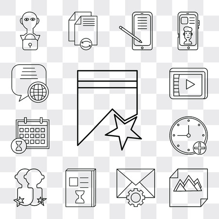 Set Of 13 simple editable icons such as Bookmark, Image, Mail, List, User, Stopwatch, Calendar, Video player, Speech bubble, web ui icon pack