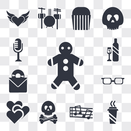 Set Of 13 simple editable icons such as Gingerbread, Hot Coffee Cup, Musical notess, Pirate head, Two Hearts, Teenager with sun glasses, Long Play Record Cover, web ui icon pack