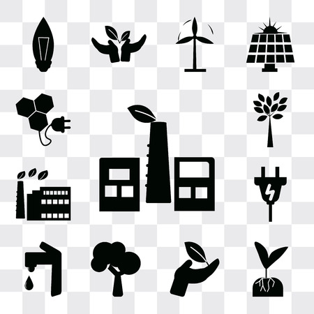 Set Of 13 simple editable icons such as Eco Factory, Plant and root, on a hand, Tree, Water tap, Plug, factory, Tree with many leaves, Bio energy, web ui icon pack Ilustração