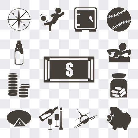 Set Of 13 simple editable icons such as Dollar bills, Piggy bank with coin, Airplane flight, Romantic dinner, Pie chart dollar, Pills, Stacks of coins, Swimming figure, web ui icon pack
