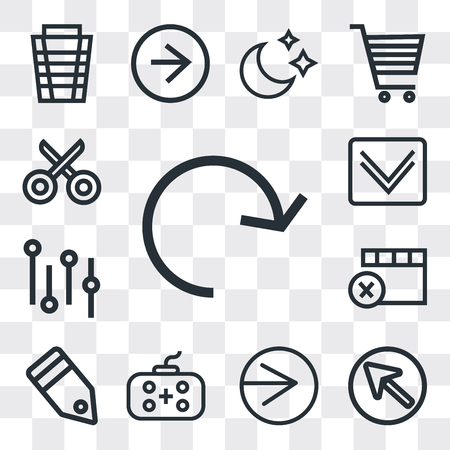 Set Of 13 simple editable icons such as Refresh, Cursor, Right arrow, Gamepad, Tag, Remove, Settings, Down Cut, web ui icon pack Banco de Imagens - 112215409