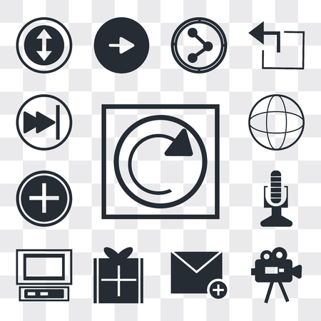 Set Of 13 simple editable icons such as Reload webpage, Video Camera, Close envelope, Wrapped gift, Laptop frontal monitor, Broadcast microphone, Nurse cross, Grid world, web ui icon pack