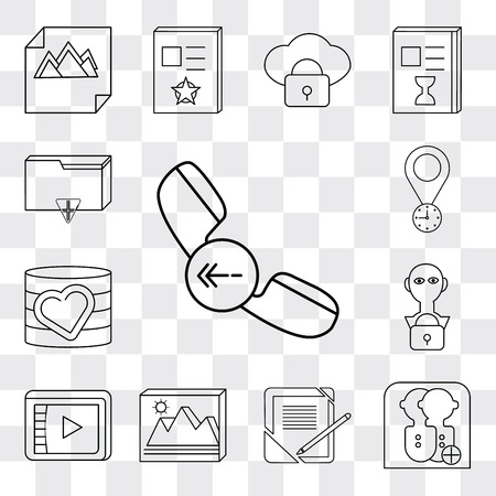 Set Of 13 simple editable icons such as Phone call, User, Notebook, Image, Video player, Database, Placeholder, Folder, web ui icon pack