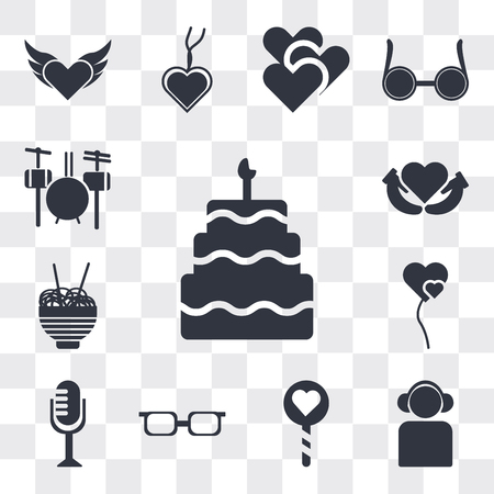 Set Of 13 simple editable icons such as Five birthday cake, Boy With Headphones, Lollipop, Teenager with sun glasses, Vintage Mic, Two Heart shaped balloons, web ui icon pack