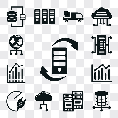 Set Of 13 simple editable icons such as Transfer, Storage, Server, Cloud, Plug, Bar chart, World, web ui icon pack