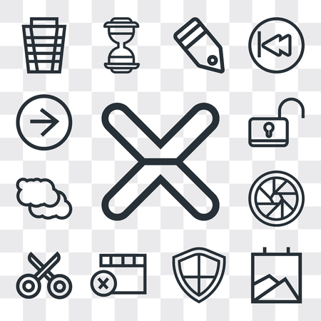 Set Of 13 simple editable icons such as Cancel, Gallery, Shield, Remove, Cut, Shutter, Cloud, Unlock, Right arrow, web ui icon pack Ilustração