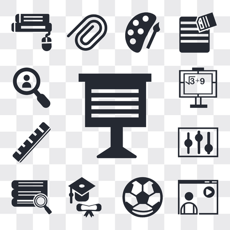 Set Of 13 simple editable icons such as Teacher giving lecture, Video Football ball, Graduation, Stack of books and magnifier, Abacus, Ruler, Math class, web ui icon pack