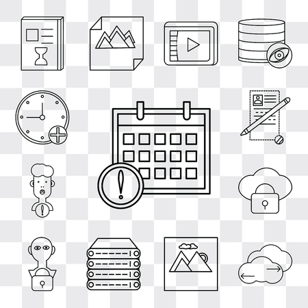 Set Of 13 simple editable icons such as Calendar, Cloud computing, Image, Server, User, Notepad, Stopwatch, web ui icon pack
