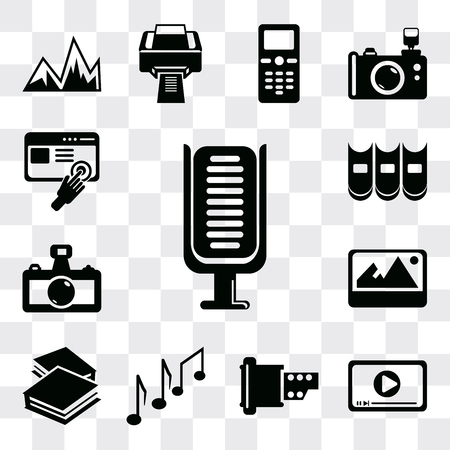 Set Of 13 simple editable icons such as Microphone, Movie play button, Film strip of two photograms, Music note, Book closed white cover, Image with shadow interface, web ui icon pack