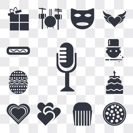 Set Of 13 simple editable icons such as Vintage Mic, Pizza Slice Cut, Muffin Bake, Two Hearts, Heart with shine, Five birthday cake, Hamburger Bacoon, Magician boy, web ui icon pack Ilustração