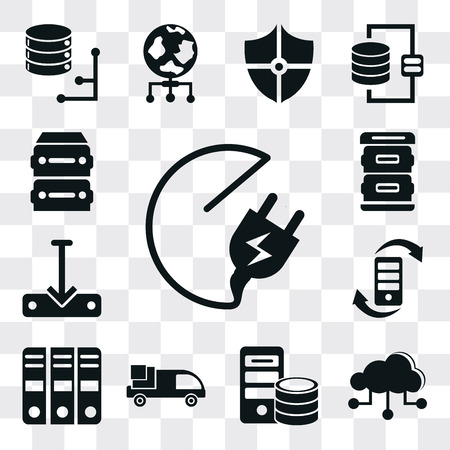 Set Of 13 simple editable icons such as Plug, Cloud, Server, Truck, Archive, Transfer, Download file, web ui icon pack