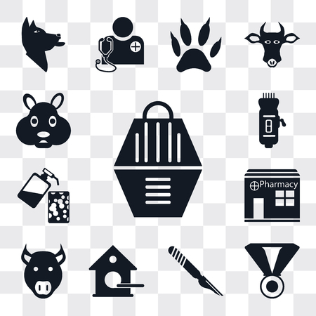 Set Of 13 simple editable icons such as Animal carrier, Medal, Scalpel, Birdhouse, Pig, Pharmacy, Soap, Clipper, Hamster, web ui icon pack