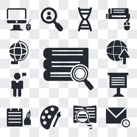 Set Of 13 simple editable icons such as Stack of books and magnifier, New message, Book Palette paint brush, Ink Bottle, Teacher giving lecture, web ui icon pack  イラスト・ベクター素材