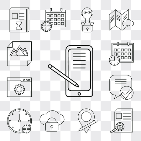 Set Of 13 simple editable icons such as Smartphone, File, Placeholder, Cloud computing, Stopwatch, Speech bubble, Browser, Calendar, Image, web ui icon pack Banco de Imagens - 112215424