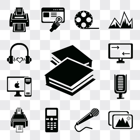 Set Of 13 simple editable icons such as Book closed of white cover, Images, Microphone black shape, Mobile phone, Printer, Microphone, PC with monitor, Monitor screen, web ui icon pack