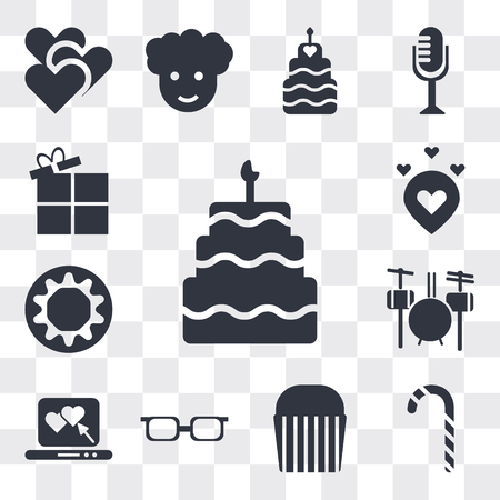 Set Of 13 simple editable icons such as Five birthday cake, Christmas candy sticks, Muffin Bake, Teenager with sun glasses, Laptop a Heart, Drummer Set, Chocolate donut, web ui icon pack