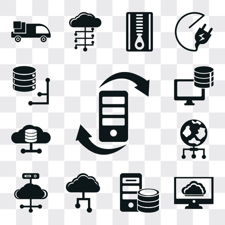 Set Of 13 simple editable icons such as Transfer, Cloud computing, Server, Cloud, World, Database, web ui icon pack