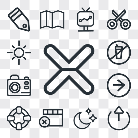 Set Of 13 simple editable icons such as Cancel, Export, Moon, Remove, Help, Right arrow, Photo camera, Prohibition, Sun, web ui icon pack