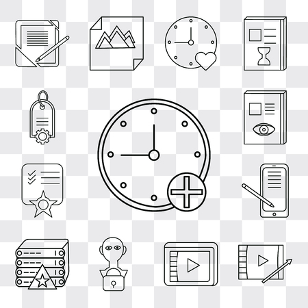 Set Of 13 simple editable icons such as Stopwatch, Video player, User, Server, Smartphone, Notepad, Notebook, Price tag, web ui icon pack Ilustração